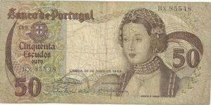 Antigas notas de 50 escudos com a imagem da Rainha